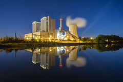 Power Plant Stoecken by Hannover in Germany. At night royalty free stock photos