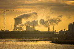 Power plant at sunrise Royalty Free Stock Images