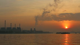 Power plant at sunrise. Of Thailand stock footage