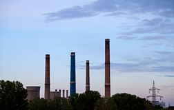 Power plant at sunrise Stock Photography