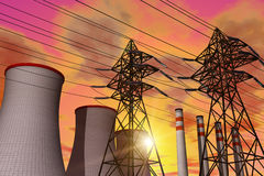 Power plant in sunset. Scenic industrial panorama of the power plant in red dramatic sunset Stock Illustration