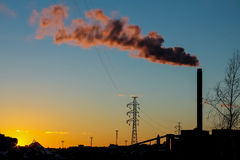 Power plant in the sunset Royalty Free Stock Images
