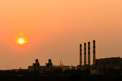 Power plant at sunset Royalty Free Stock Photography
