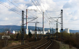 Power plant and tracks near Prunerov Royalty Free Stock Photography