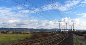 Power plant and tracks near Prunerov Royalty Free Stock Photo