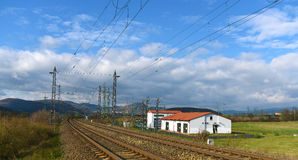 Power plant and tracks near Prunerov Stock Images