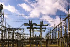 Power plant ,transformation station. Multitude of cables and wir Royalty Free Stock Photo