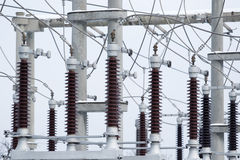 Power plant transformer station Royalty Free Stock Photos