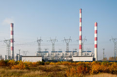 Power plant and transmission power lines Royalty Free Stock Images