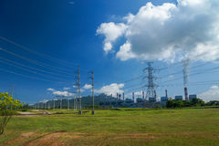 Power plant and transmission system Stock Image