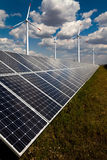 Power plant using renewable solar energy. As background four wind Stock Photo