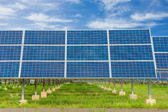 Power plant using renewable solar energy with blue sky Royalty Free Stock Image