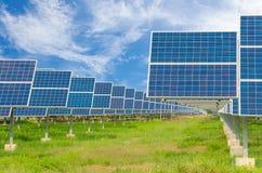 Power plant using renewable solar energy with blue sky Stock Photos