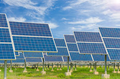 Power plant using renewable solar energy with blue sky Royalty Free Stock Photos