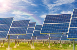 Power plant using renewable solar energy with blue sky Royalty Free Stock Images