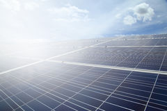 Power plant using renewable solar energy on blue sky cloud with Stock Image
