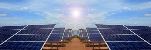 Power plant using renewable solar energy on blue sky cloud. Power plant using renewable solar energy with sun Stock Photo