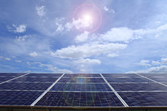 Power plant using renewable solar energy on blue sky cloud with Royalty Free Stock Image