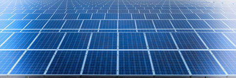 Power plant using renewable solar energy. Solar cell panels in a photovoltaic power plant Royalty Free Stock Photos