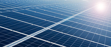 Power plant using renewable solar energy. Solar cell panels in a photovoltaic power plant Royalty Free Stock Photo