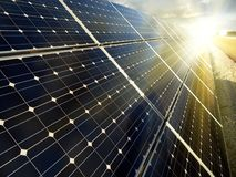 Power plant using renewable solar energy. With sun Stock Image