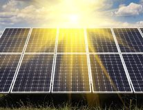 Power plant using renewable solar energy. With sun Stock Images