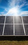 Power plant using renewable solar energy. With sun Royalty Free Stock Photos