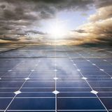 Power plant using renewable solar energy. With sun Royalty Free Stock Images