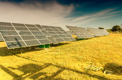 Power plant using renewable solar energy with sun Royalty Free Stock Photography