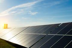 Power plant using renewable solar energy with sun Stock Image