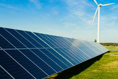 Power plant using renewable solar energy with sun Royalty Free Stock Photos
