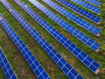 Power plant using renewable solar energy with sun. Solar panels in the field stock photography