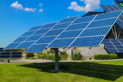 Power plant using renewable solar energy with sun. Summer Stock Photography