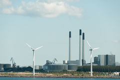 Power plant and wind turbines Royalty Free Stock Photos