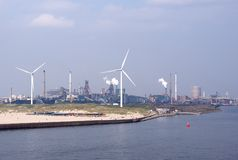 Power plant and wind turbines Royalty Free Stock Images