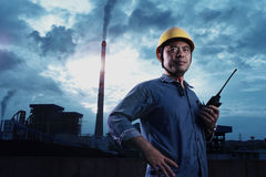 Power Plant worker. A power plant fuel professional workers in the work royalty free stock photography