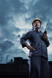 Power Plant worker. A power plant fuel professional workers in the work Stock Photo
