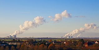 Power plants in the brown coal mine on the Lower Rhine, Germany. Power plants in the brown coal mine on the Lower Rhine Side, Germany stock photo