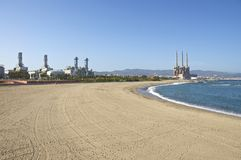 Power Plants close to the Beach, Barcelona Royalty Free Stock Photography