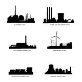 Power plants by fuel vector silhouette. Vector illustration as silhouette of different types of power plants, with difference by fuel, we have in row oil power Stock Photo