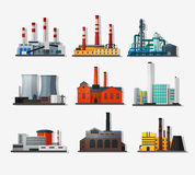 Power plants. Power plant icons in flat style and long shadow. Nuclear power plant and chemical plant, old factory and modern plant.   Detailed flat style Royalty Free Stock Photography