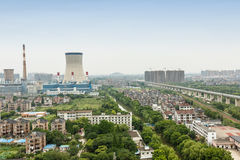 Power plants in residential areas aerial view Stock Photos