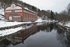 Power plants and rivers. Tistedal power plant is a hydropower plant at Tistedalen in Halden municipality in Østfold county. Country: Norway. Tista river runs Stock Images