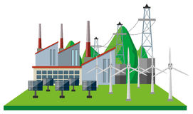 Power plants and wind turbines in the field Royalty Free Stock Photography