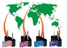 Power plug-ins types Royalty Free Stock Photos