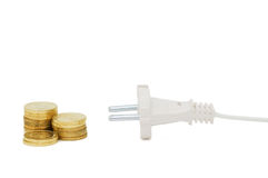 Power plug and money concept energy costs Royalty Free Stock Image