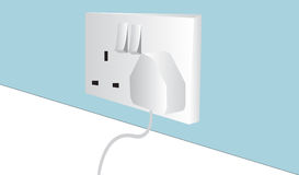 Power Plug And Outlet. Vector illustration of a power plug and sockets Royalty Free Stock Image