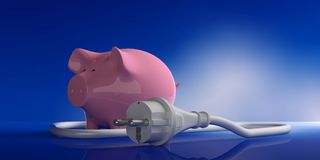 Power plug and piggy bank isolated on blue background. 3d illustration. Energy cost savings. Power plug and piggy bank isolated on blue background. 3d Royalty Free Stock Photos
