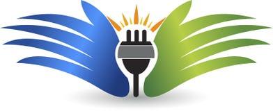 Power plug safe care logo vector illustration