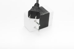 Power plug on voltage adapter Royalty Free Stock Images